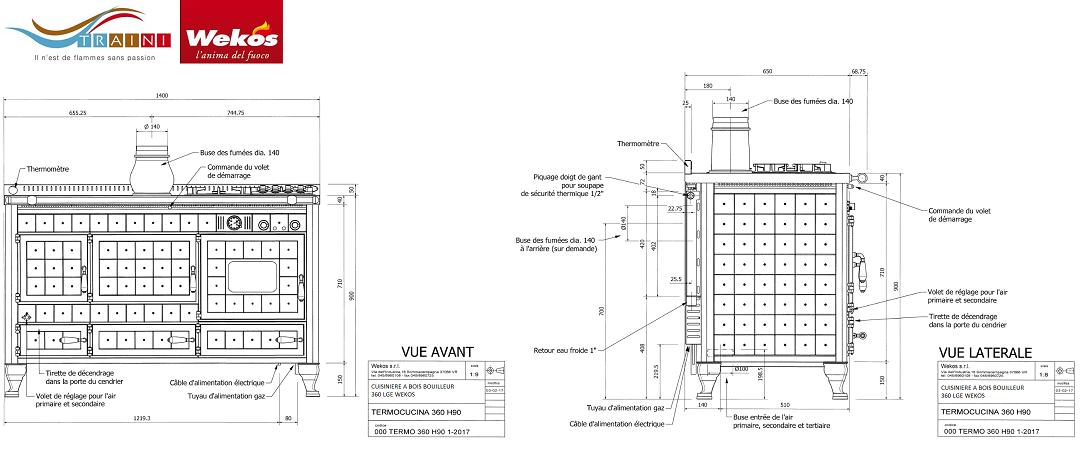 cuisiniere a bois bouilleur wekos 360 lge 13 3 kw traini. Black Bedroom Furniture Sets. Home Design Ideas